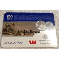 2016 Anzac to Afghanistan 20 cent coin - DOGS AT WAR