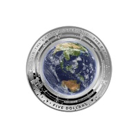 "2018 The Earth & Beyond ""EARTH"" $5 coloured fine silver proof domed coin."